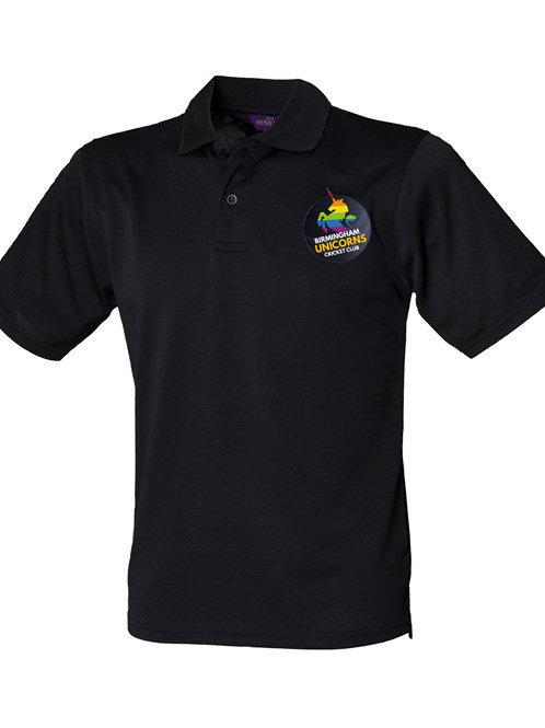 Polo Shirt (HB475) Black - Birmingham Unicorns CC