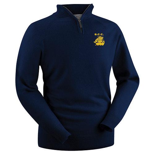 Glenbrae 1/4 Zip lambswool Sweater - Navy - Stourport CC