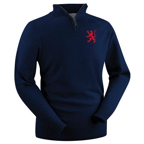 Glenbrae Lambswool 1/4 Zip Sweater - Navy - B E R CC