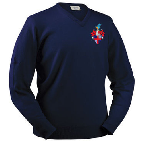 Glenbrae V Neck Lambswool Sweater - Navy - Redditch