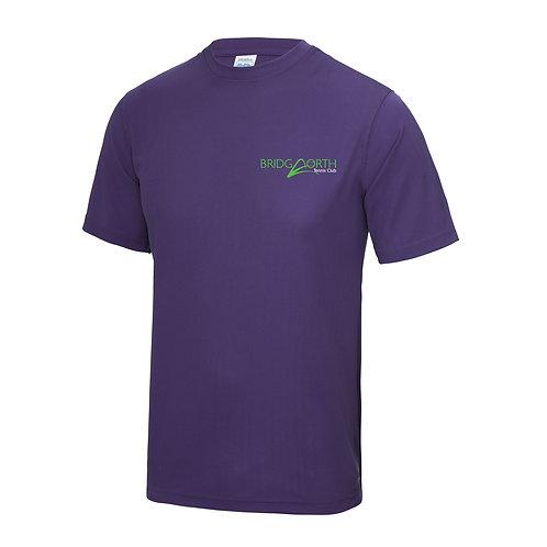 T Shirt Senior polyester, (JC001) Purple, Bridgnorth Tennis Club