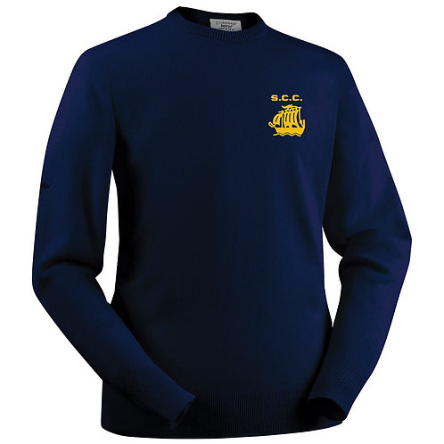 Glenbrae Round Neck Lambswool Sweater - Navy - Stourport CC