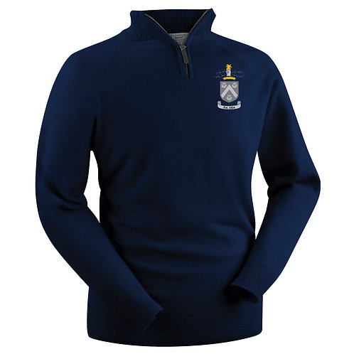 Glenbrae 1/4 Zip Lambswool Sweater - Navy - Hagley CC