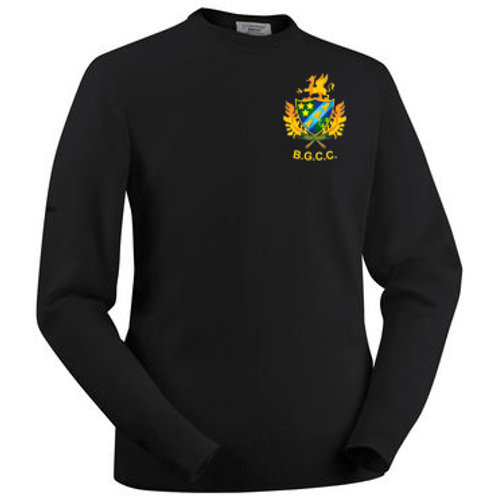Glenbrae Round Neck Lambswool Sweater - Black - Barnt Green