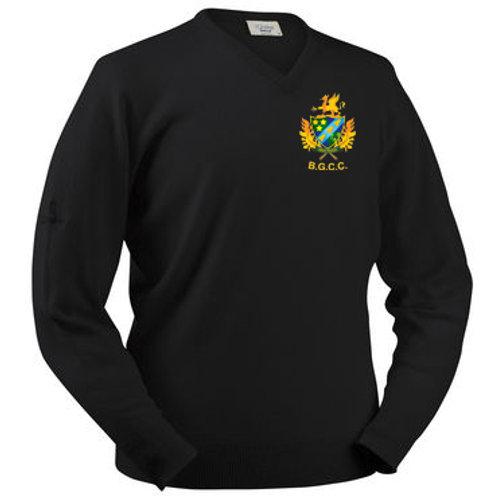 Glenbrae V-Neck Lambswool Sweater - Black - Barnt Green