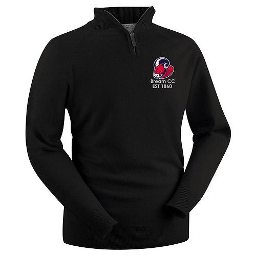 Glenbrae 1/4 Zip Lambswool Sweater - Black - Bream CC