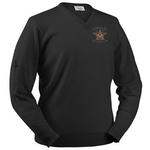 Glenbrae V neck Lambswool Sweater - Black - Apperley CC
