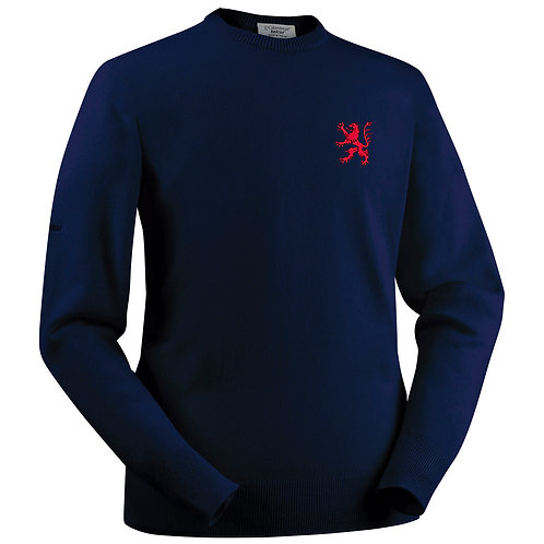 Glenbrae Lambswool Roundneck Sweater - Navy- B & E R CC
