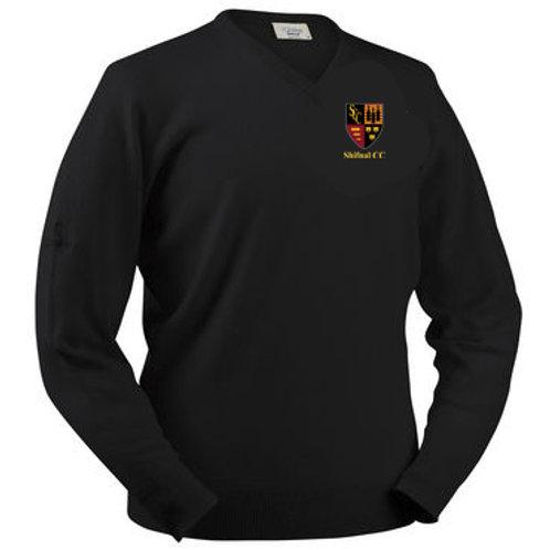 Glenbrae V Neck Lambswool Sweater - Black - Shifnal CC