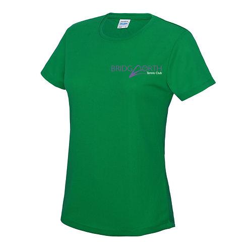 T Shirt Ladies polyester, (JC005) Kelly Green, Bridgnorth Tennis Club
