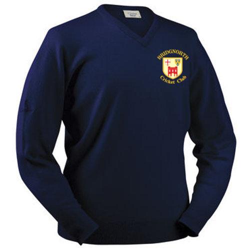 Glenbrae V Neck Lambswool Sweater - Navy - Bridgnorth CC