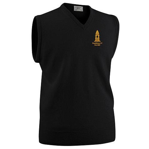 Glenbrae Slipover Lambswool Sweater - Black - Dumbleton