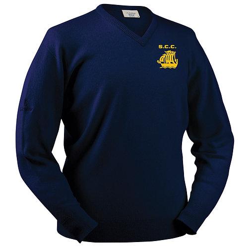 Glenbrae V Neck Lambswool Sweater - Navy - Stourport CC