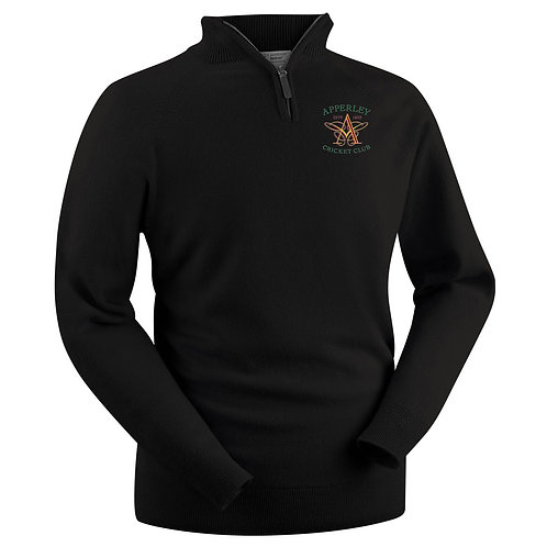 Glenbrae 1/4 Zip Lambswool Sweater - Black - Apperley CC