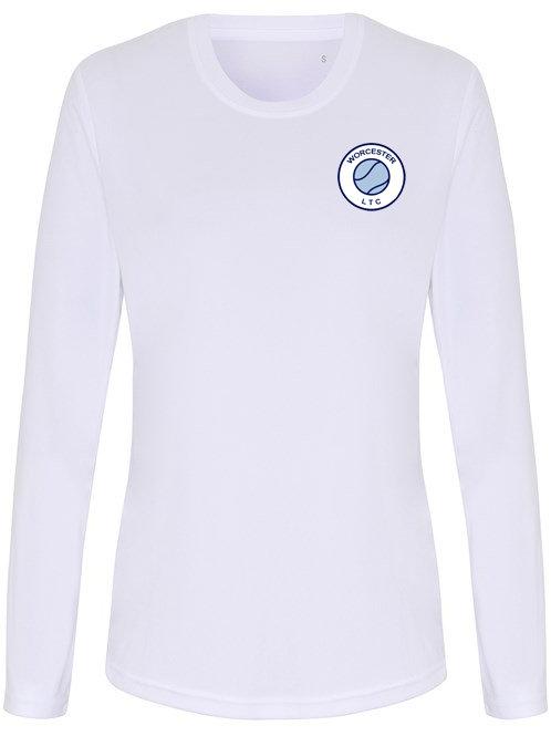 Ladies Tec Tee L/S Polyester (TR060) White - Worcester Lawn Tennis Club