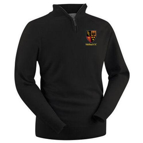Glenbrae 1/4 Zip Lambswool Sweater - Black - Shifnal CC