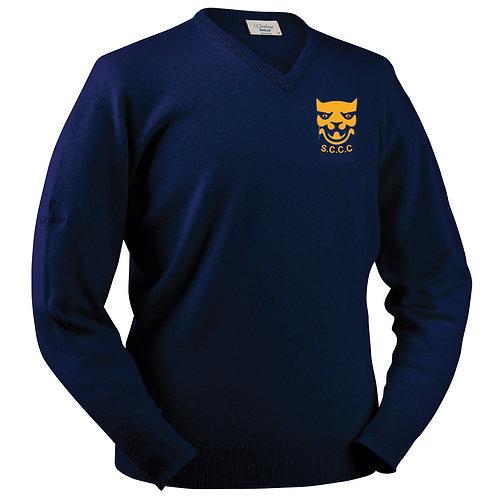 Glenbrae Lambswool V Neck Sweater - Navy  - Shropshire CCC Members