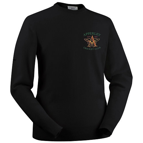 Glenbrae Round Neck Lambswool Sweater - Black - Apperley CC