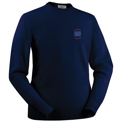 Glenbrae Round Neck Lambswool Sweater - Navy - Birlingham CC