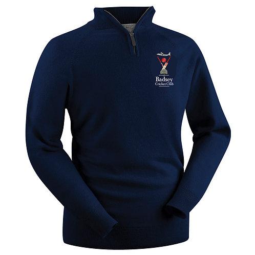 Glenbrae 1/4 Zip Lambswool Sweater - Navy - Badsey CC