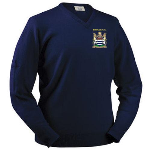 Glenbrae V Neck Lambswool Sweater - Navy - Enville