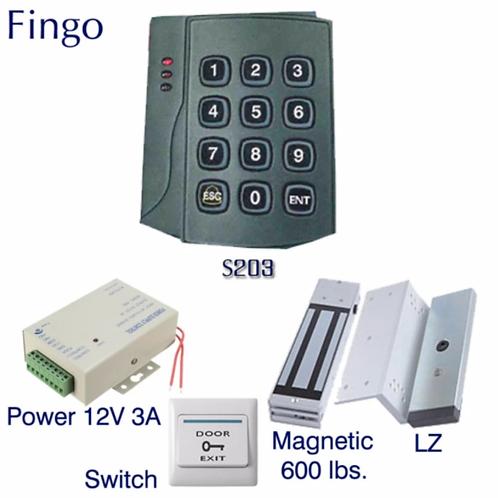 Fingo S-203 ระบบล็อกประตูด้วยกลอนแม่เหล็ก ทาบบัตรเปิดประตู พร้อมชุดกลอนแม่เหล็ก