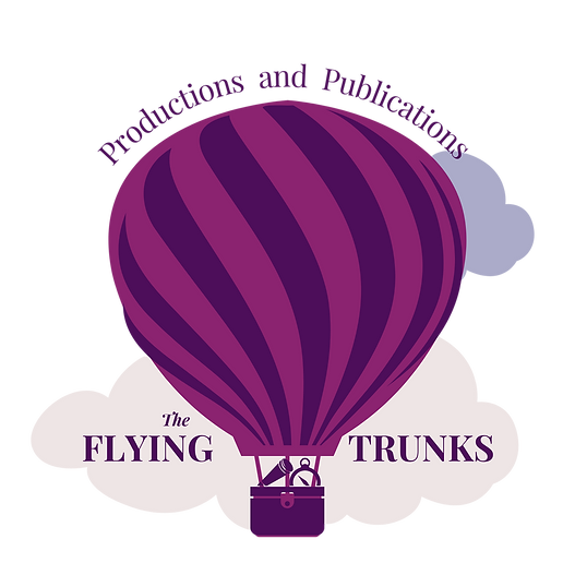 """A purple and fuschia balloon floats over a foggy lake at dusk with the words """"Productions and Publications"""" on top and """"The Flying Trunks"""" on the bottom."""