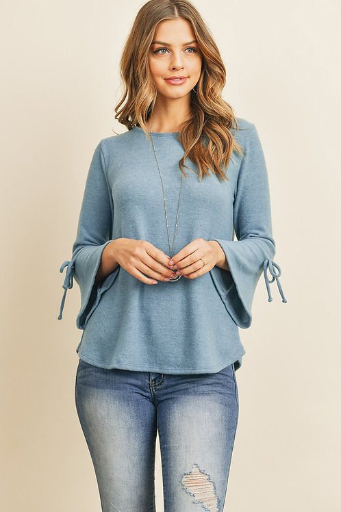 Bell Sleeves Ribbon Detail Round Neck Top