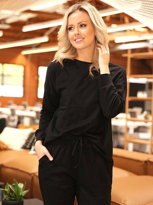 Stacy Loungewear Top - Black