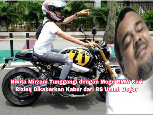 NikitaMirzani Tunggangi  Moge BMW Cari Rizieq, Dikabarkan Kabur dari RS Ummi Bogor
