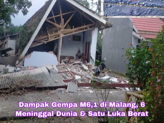 Dampak Gempa M6,1 di Malang, 6 Meninggal Dunia dan Satu Luka Berat