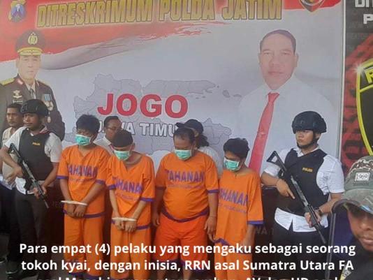 Empat Komplotan Penggandaan Uang Dengan Modus Sebagai Kyai, Berhasil Diringkus Polda Jatim
