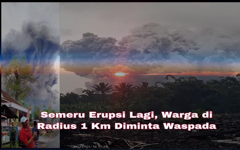 Guna menghindari terjadinya korban, warga di lereng Gunung Semeru diminta tidak beraktivitas dalam radius 1 kilometer (km) dari kawah atau puncak Semeru dan jarak 4 km arah bukaan kawah di sektor selatan-tenggara.(Foto:Adm)