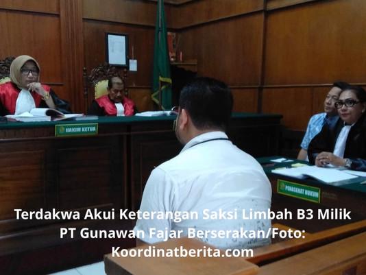 Terdakwa Akui Keterangan Saksi Limbah B3 Milik PT Gunawan Fajar Berserakan