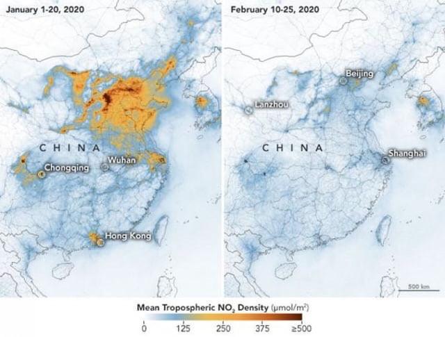 Perubahan kadar gas rumah kaca di daerah Wuhan, Tiongkok sebelum (kiri) dan sesudah (kanan) mewabahnya virus Corona (Dokumentasi NASA)