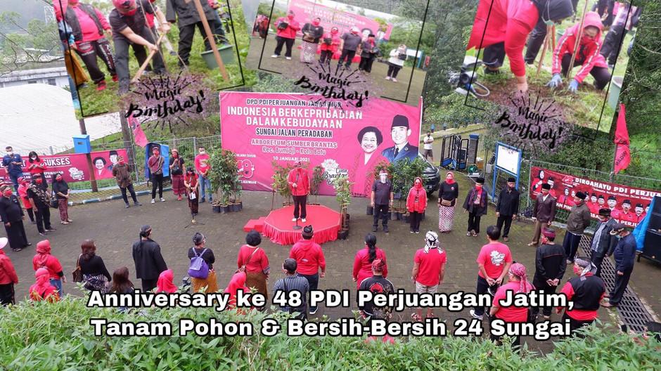 Anniversary ke 48 PDI Perjuangan Jatim, Tanam Pohon & Bersih-Bersih 24 Sungai