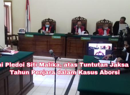 Ini Pledoi SitiMalika, atas Tuntutan Jaksa 3 Tahun Penjara dalam Kasus Aborsi