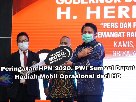 Peringatan HPN 2020, PWI Sumsel Dapat Hadiah Mobil Oprasional dari HD