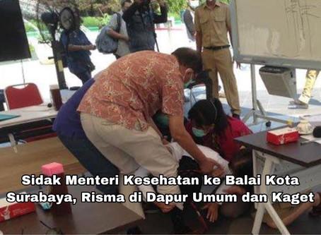 Sidak Menteri Kesehatan ke Balai Kota Surabaya, Risma di Dapur Umum dan Kaget