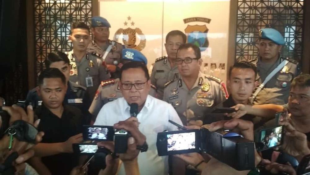 Kapolda Jatim Irjen Pol Luki Hermawan Menyampaikan Status Vanessa Angel Menjadi Tersangka Dalam Kasus Prostitusi Online, (foto: Ad)