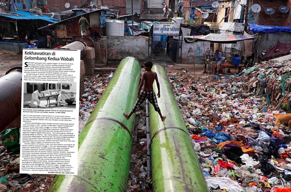 Kawasan yang diperkirakan memiliki angka kemiskinan ekstrem tertinggi adalah Asia Selatan. Warga bermain di atas pipa penuh sampah di New Delhi, India 5 Juni 2020. REUTERS / Adnan Abidi