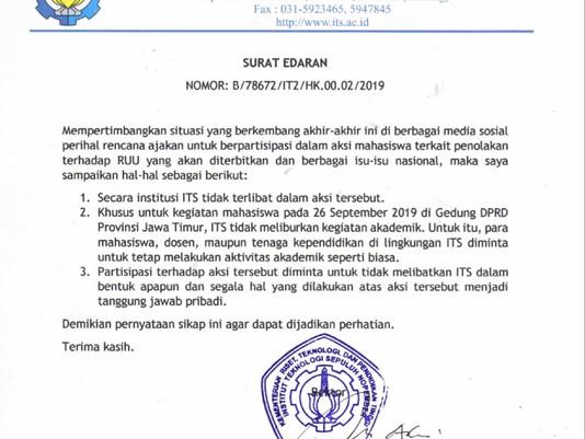Rektor ITS Larang seluruh Sivitas Akademika Tak Dilibatkan Di Aksi Demo Mahasiswa