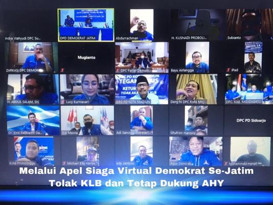 Melalui Apel Siaga Virtual Demokrat Se-Jatim Tolak KLB dan Tetap Dukung AHY