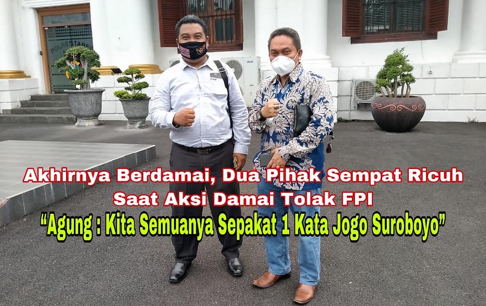 Pengacara FPI, Agung Silo Widodo Basuki SH.MH dan Andry Ermawan selaku Bantuan Hukum Front Pembela Islam (BHPI) yang mewakil mediasi di Kepolisian Kota Besar Surabaya