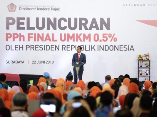 Presiden RI, Jokowi Hadiri Peluncuran PPh Final UKKM 0,5% Di Jatim Expo