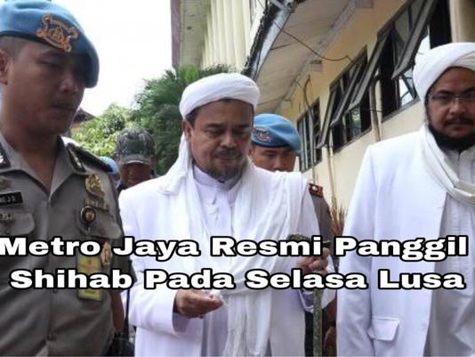 Polda Metro Jaya Resmi Panggil Rizieq Shihab Pada Selasa Lusa