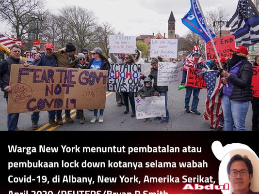 MEREKA MENOLAK PEMBATASAN, Protes Anti-Pembatasan di Sejumlah Kota di Amerika Serikat.
