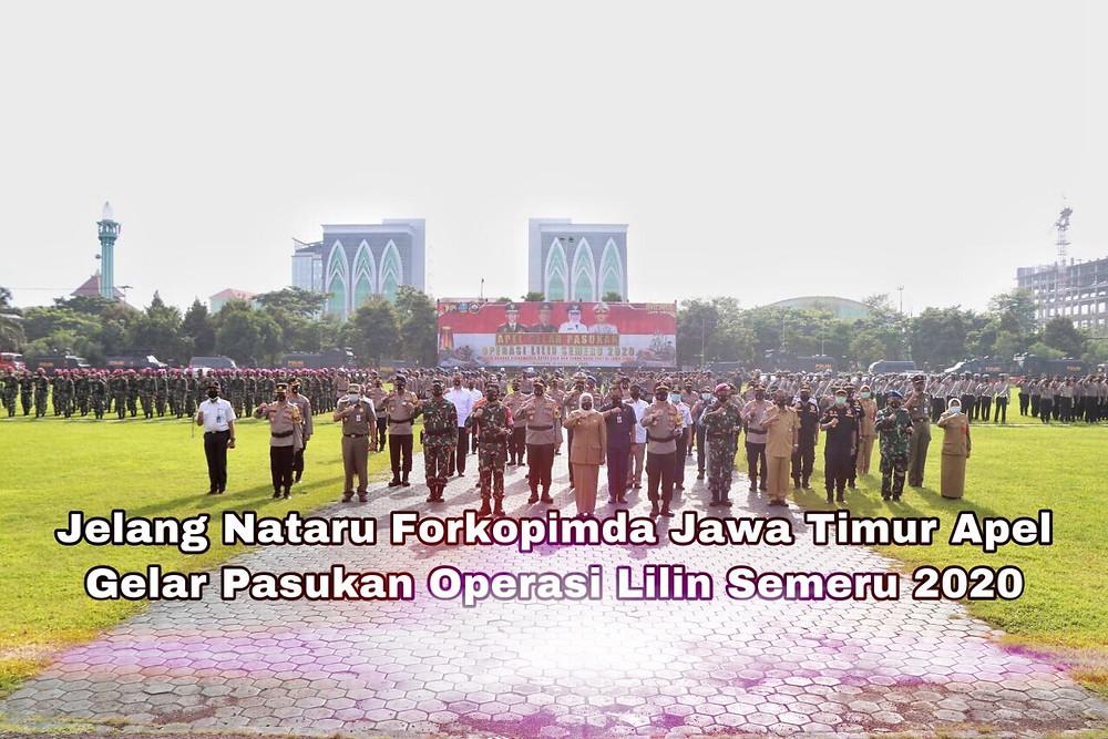 Gubernur Jawa Timur Khofifah Indar Parawansa menyebutkan, Apel Gelar Pasukan Operasi Lilin-2020 yang diselenggarakan secara serentak di seluruh jajaran Polri, mulai dari tingkat Mabes Polri hingga kesatuan kewilayahan. (Foto:Rif)