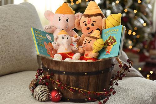 Mantra-singing Baby Ganesh Baby Hanuman plush toys from Modi Toys