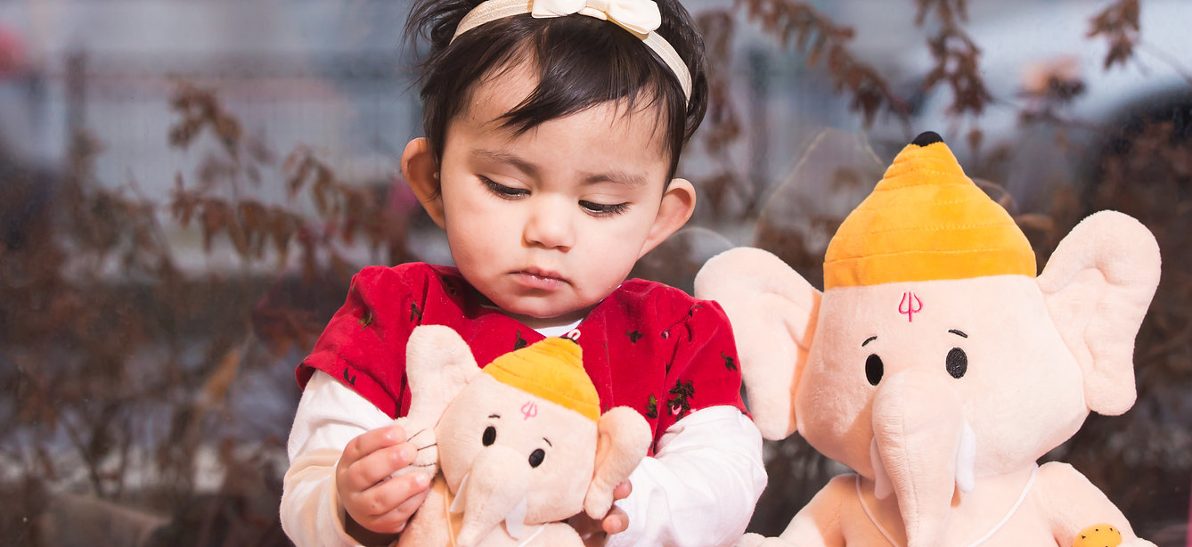 Loveable, huggable plush Baby Ganesh by Modi Toys. Perfect for newborns, infants and toddlers